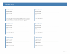 Phone-log-template