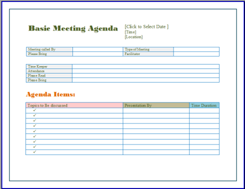 Basic Meeting Agenda