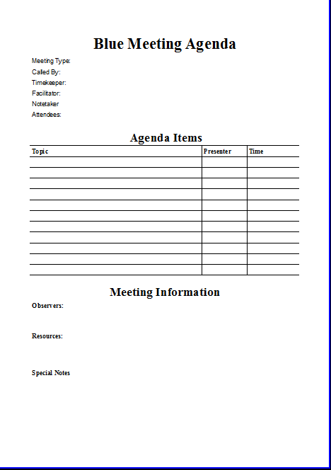 Blue Meeting Agenda Template