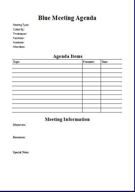 Blue Meeting Agenda Template