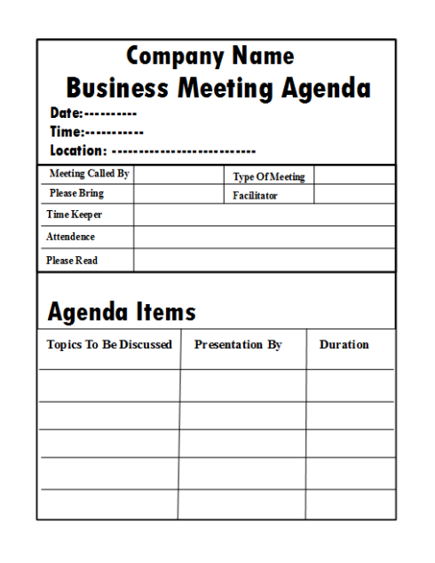 Company Meeting Agenda Template