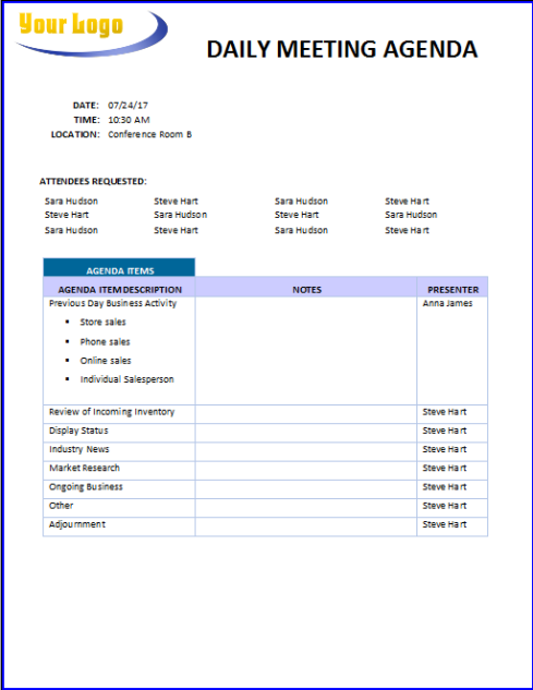 Daily Meeting Agenda template