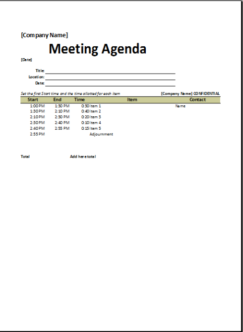 Simple Meeting Agenda